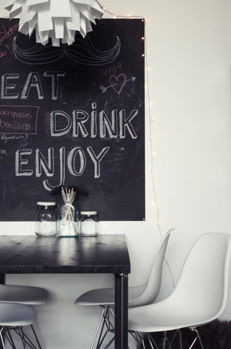 I think the kids (and I) would have a lot of fun with a chalkboard in the kitchen.