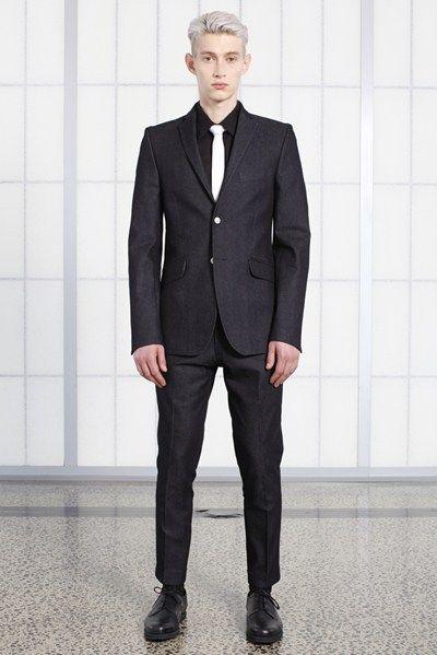 s/s 13/14 mens key looks - M14. mr pink jacket in indigo, business shirt in black lawn, super skinny tie in white, cropped knife trouser in indigo.