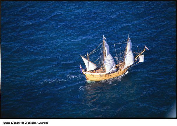 Aerial photograph of the Duyfken replica ship at sea https://encore.slwa.wa.gov.au/iii/encore/record/C__Rb2554369