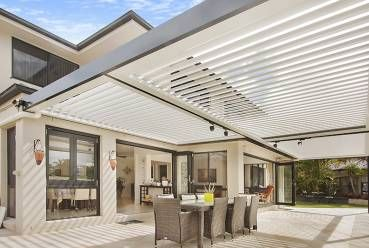 Pergolaire louvered patios are available in curved or flat louvre profiles with an endless choice of décor options