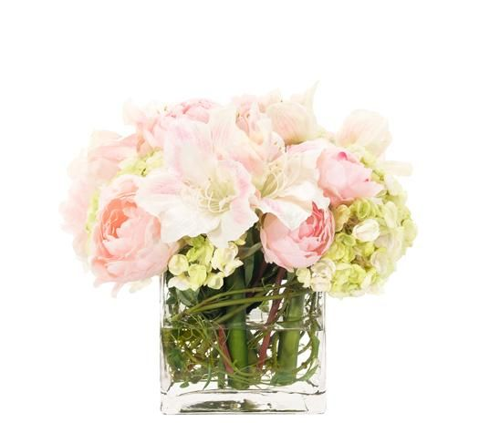 Natural Decorations, Inc. - Amaryllis Peony Hydrangea Cream Pink Glas Cube