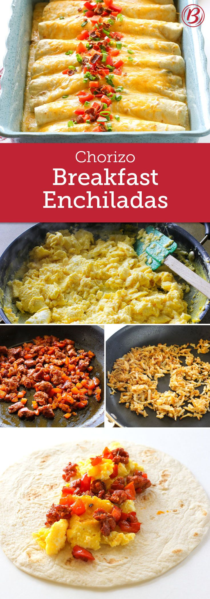 Calling all savory breakfast lovers! You'll soon be making these unforgettable Chorizo Breakfast Enchiladas over and over. Loaded with eggs, chorizo, red peppers, crispy hash browns, bacon and cheese – then smothered in Old El Paso green enchilada sauce, these breakfast enchiladas are as easy and flavorful (and pure genius) as can be.