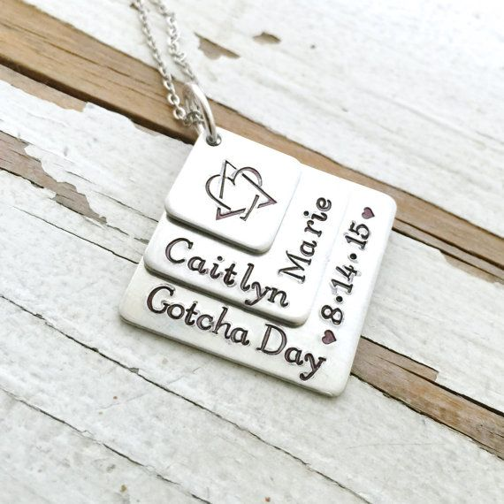 Hand stamped gotcha day adoption foster parent mommy jewelry mom mothers…