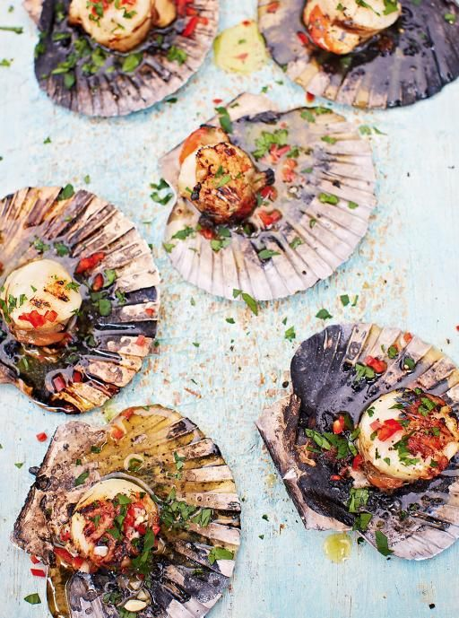 DJ BBQ's scallops. With chilli garlic butter. This delicious, easy scallop recipe is perfect for barbecues – just place them on the coals and let the magic happen