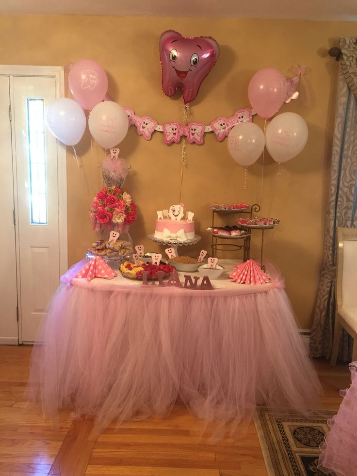 First tooth party cake table