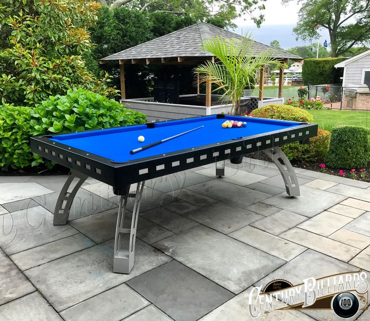 Custom outdoor pool table 100% waterproof design  All aluminum & stainless steel construction One-piece slate for perfectly level play field