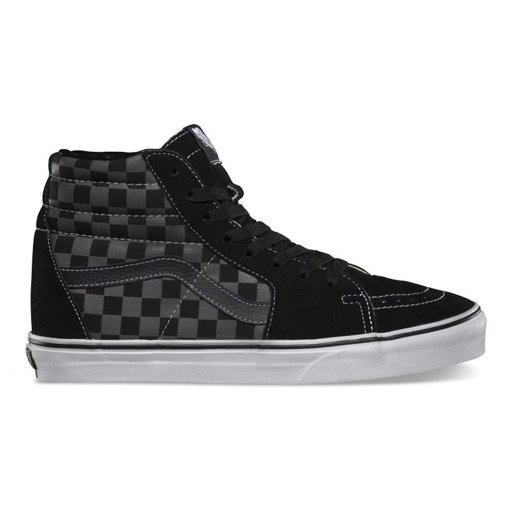 black and grey check vans