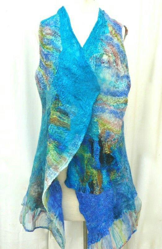 Tropical Blues/Greens Nuno Felted Vest