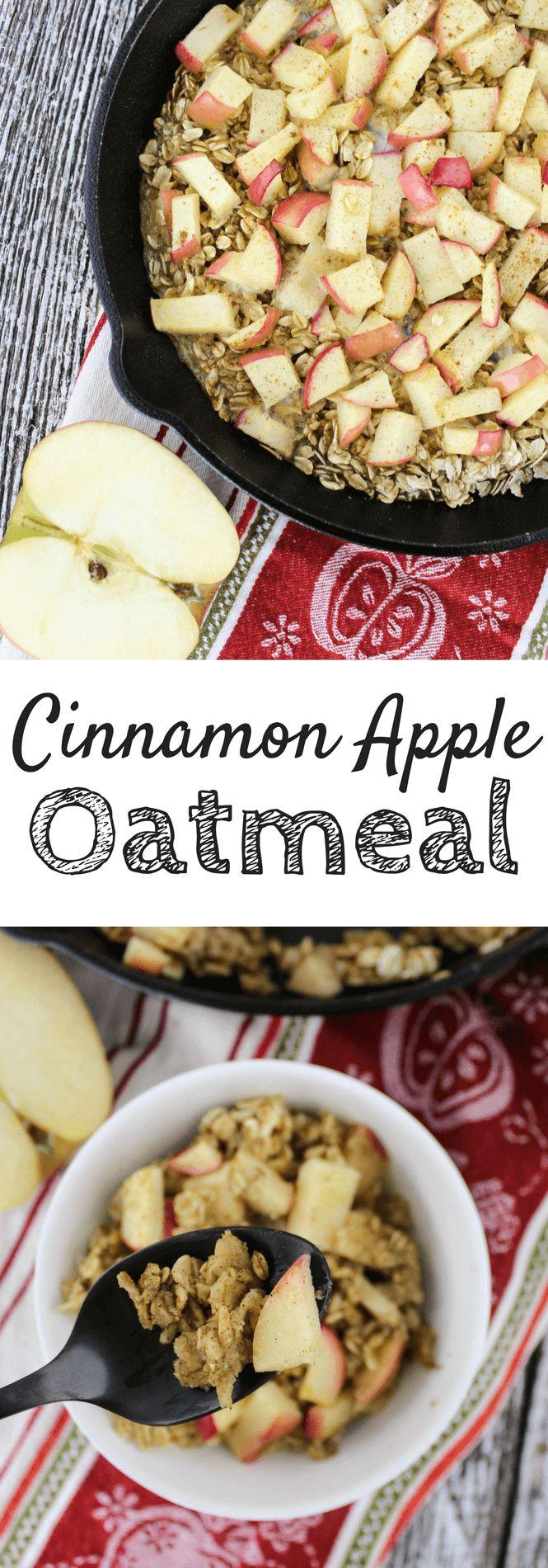 Cinnamon Apple Oatmeal Bake #breakfast #oatmeal #fallrecipe