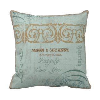 Vintage Calligraphy Flourish Swirl Etched Collage Pillow
