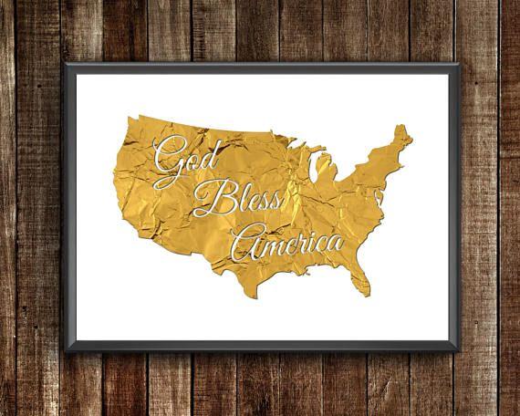 God Bless America  Gold Foil Map  Gold Foil Poster Gold