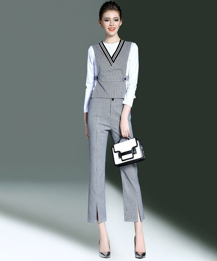 Elegant Business Style Ladies Fashion 3-Piece Trouser Suit, Slim Fit, Grey