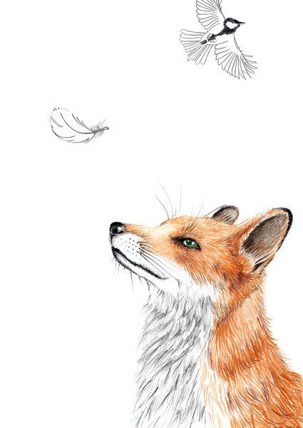 Illustration Fuchs mit Feder / 2015 ************************************************ Fuchs mit Feder - Bleistift-Buntstift-Zeichnung. Wunderbare Reproduktion, absolut vergleichbar mit dem...