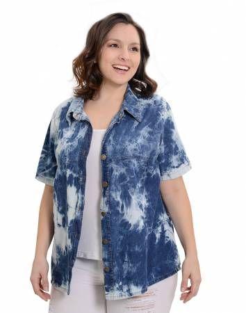 WESTERN. Camisa de jean batik entallada