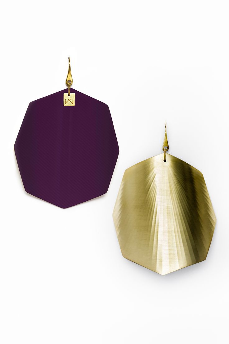 Vanda Ferencz 18 carat gold pleated purple octagonal radial earrings made with glass fiber.