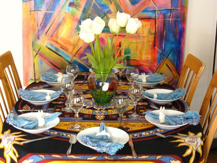 What a creative idea!  Setting your table near some artwork in your home adds to the beauty of the table!   Decor Ideas: 13 Pretty Table Settings That Will Impress Friends And Mom (PHOTOS)
