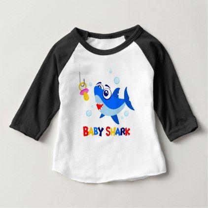 27550eb0 Baby Shark 3/4 Sleeve Raglan T-Shirt | Zazzle.com | baby gifts | Baby shirts,  Baby gifts, Baby design
