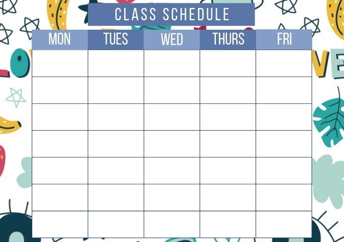 Class Schedule Doodles School Calendar Education Poster Class Schedule Class Schedule Template