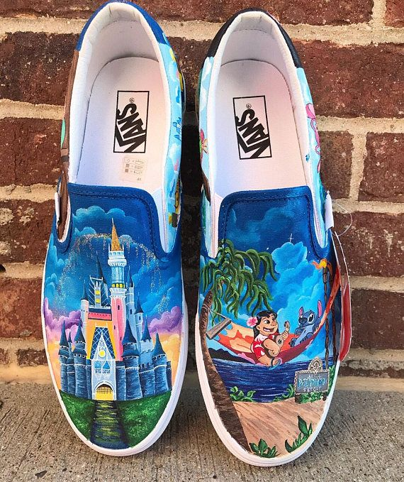 lilo and Stitch Pianted shoes in 2020 | Disney painted shoes