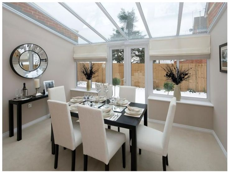 Modern and airy dining conservatory room. #newhomes https://www.stonebridge.uk.com/course/interior-design