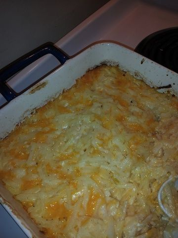 Two bags of Simply Potatoes Shredded Hash Browns  2 cups of Sharp Shredded Cheese  1 cup of Whipping Cream/heavy cream  2 T butter  1 c Parmesane  2 T of salt (or to taste)  2 tsp of pepper  Pam   1 cup of milk (2%)   1 medium egg   You can also add some onions and sour cream for more kick. Spray 9X13, pour mixture in pan, bake 350F for 30-45 mins.