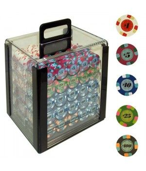 1000 Paulson® Tophat & Cane Poker Chips in Acrylic Carrier | http://ergode.com