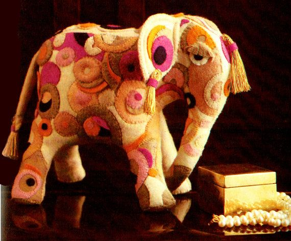 Last-Minute CHRISTMAS 1970s Indian Felt Elephant Toy Sewing Pattern PDF Gift Idea Kitsch, Groovy, Psychedelic, Upcycling, Recyclingx