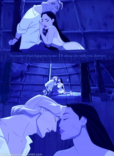romantic moment: when Pocahontas thinks she is seeing john smith for the last time before he is sentenced to death.