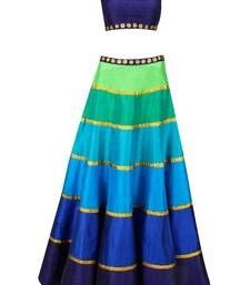 Buy Multicolor embroidered Georgette unstitched lehenga choli lehenga-choli online
