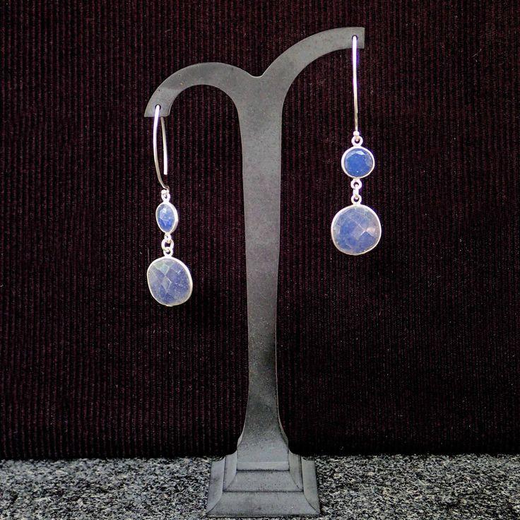 Dangle earrings with silver framed Sapphire & silver V shape hooks. Handmade earrings, gemstone, blue colour, bridal, wedding,something blue by Menir on Etsy