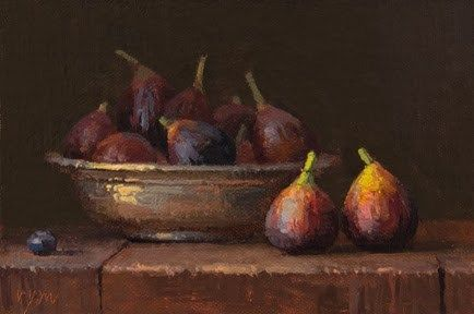 """""""Still Life with Figs and a Copper Bowl"""" - Original Fine Art for Sale - © Abbey Ryan"""