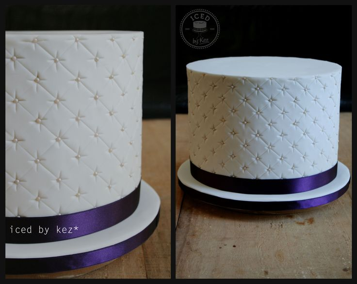 """Quilted Wedding Cake.  This cake was huge!! fresh flowers were put on the top at the venue. It's 10""""round and almost 8"""" high. White Chocolate Mud Cake :) kez* x"""