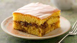 Think this is the right one. Honey Bun Cake moist and delicious. Tried without pecans. Brown sugar and cinnamon swirl through cake mix