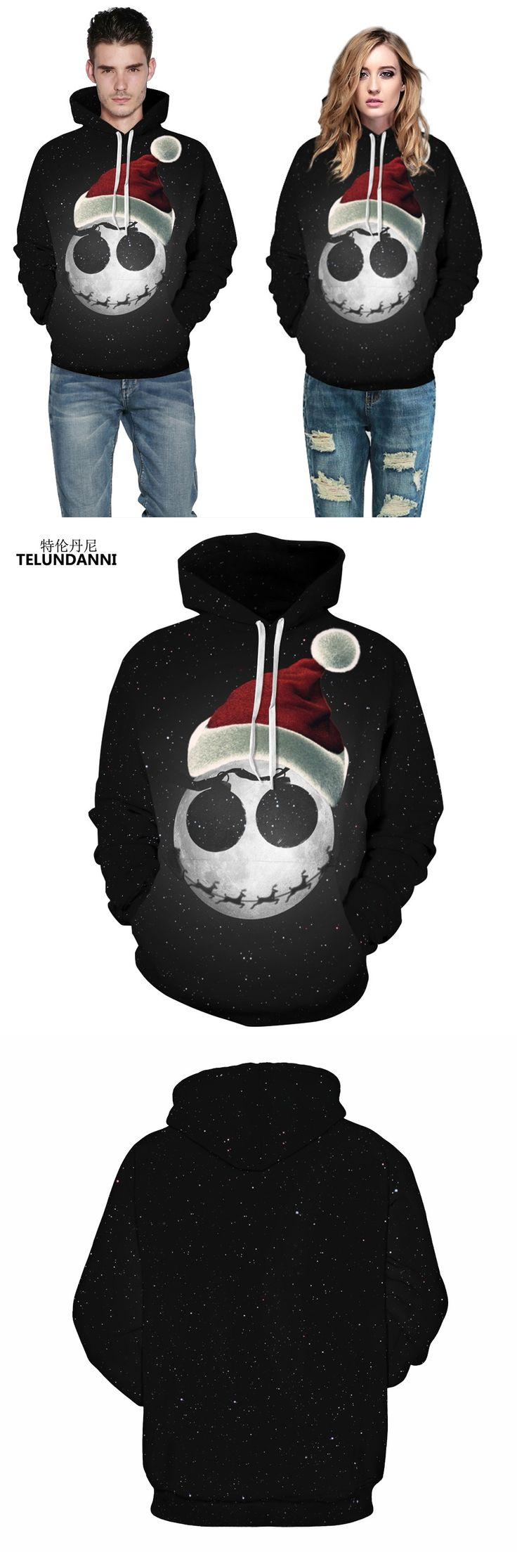 TELUNDANNI Fashion Star Sky Christmas Hat Printed 3d Hoodies Men Hooded Casual Sweatshirt Couple Tracksuit Tops