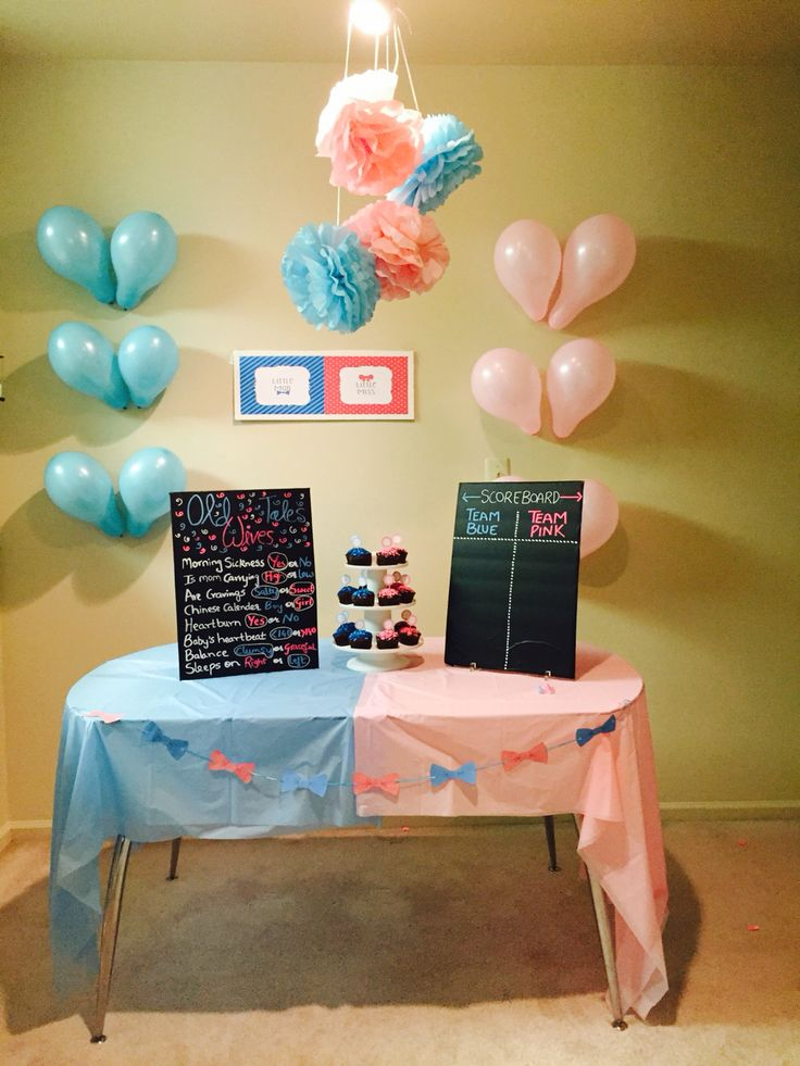 Gender reveal party diy table decor