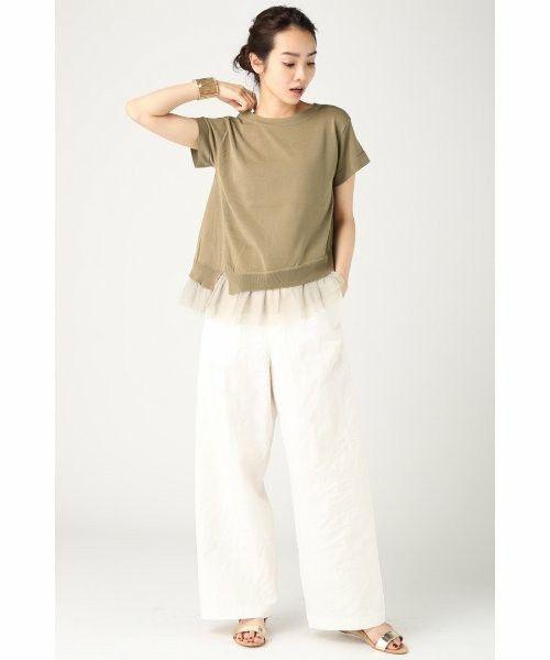 IENA(イエナ)の裾チュール アシンメトリー半袖プルオーバー。(ニット/セーター)|詳細画像