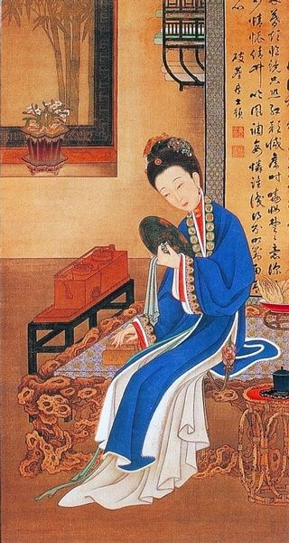 "雍親王題書堂深居圖屏『對鏡裘裝』,1709-1723。""The Twelve Beauties,"" ""Twelve Concubines of the Emperor Yongzheng"""