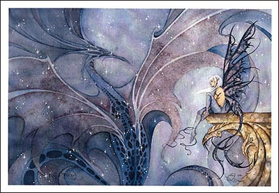 """just set your eyes upon the beauties in this painting by Amy Brown. It is incredible what she can do with her watercolors... Title, """"Dragon Dream"""""""