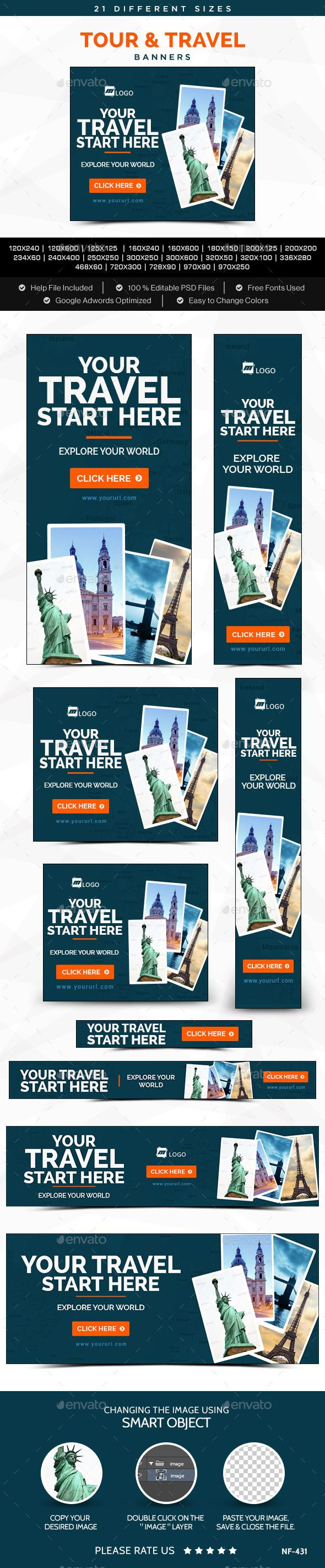 Tour & Travels Banners Template #design #banners #web Download: http://graphicriver.net/item/tour-travels-banners/11819798?ref=ksioks