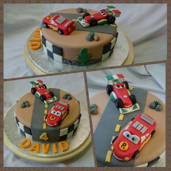 Tarta Cars. Figuras Rayo Mcquen y Francesco en 3D