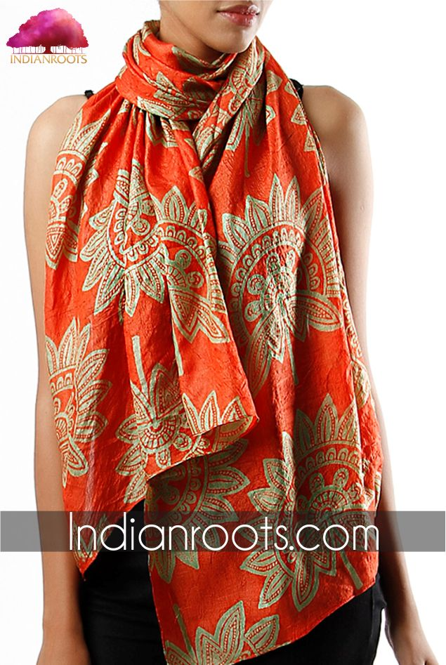 Orange tussar silk stole by Charkohl on Indianroots.com