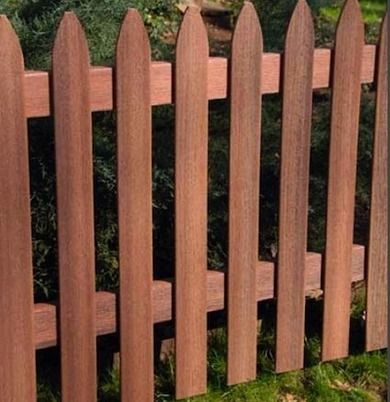 Composite fencing (made from engineered wood) comes in a bewildering number of variations. Due to manufactured textures and colors, fences of this type convincingly simulate the look of wood.