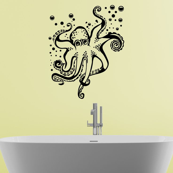quality octopus and bubbles bathroom wall sticker