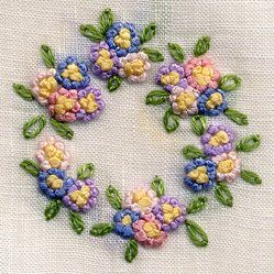 French knot wreath made by Trudy Horne.