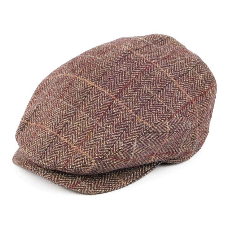 Jaxon & James Tweed Extended Bill Flat Cap - Brown-Burgundy from Village Hats.