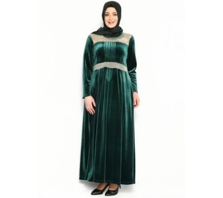 Dore Süslemeli Abiye Elbise - Yeşil - He& De