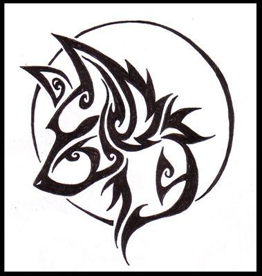 Modèle De Tatouage Dune Tête Loup Tribal