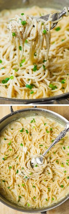 Homemade Creamy Four Cheese Garlic Spaghetti Sauce is the best white cheese Italian pasta sauce you'll ever try! Super easy weeknight dinner recipe!