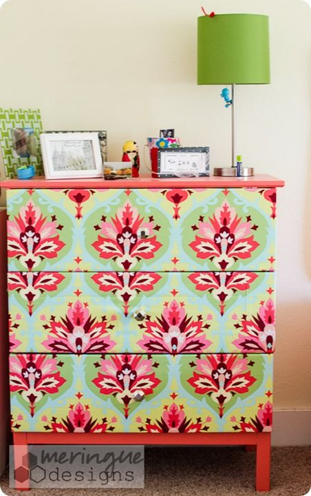 Love this Ikea dresser hack using Amy Butler fabric.