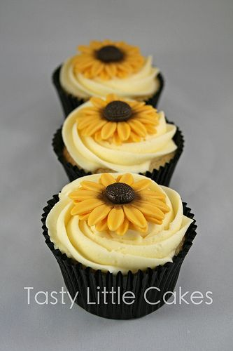 sunflower corsages | Beautiful Bridal: Sunflower Wedding Cupcakes